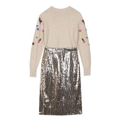 flower embroidery knit & spangle skirt